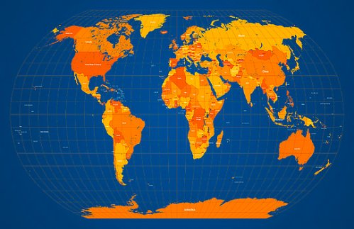 world-map-in-orange-and-blue-michael-tompsett
