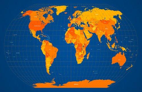 world-map-in-orange-and-blue-michael-tompsett